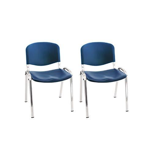 Centrosilla Silla confidente ISO clásica para Oficina apilable Polipropileno Azul para Salas Espera, Multiusos, confidente Patas Acero Cromado (Pack 2 Unidades)