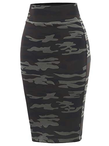 Army Green Ponte Knee Length Slit High Waist Pencil Skirt Army Green S