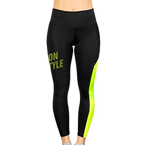NEON STYLE - Pantalones Deportivos Delfos Evening   Color Negro y Amarillo Flúor   Talla XL   Efecto Push-Up   para Pádel, Tenis, Fitness etc.   para Mujeres Deportivas
