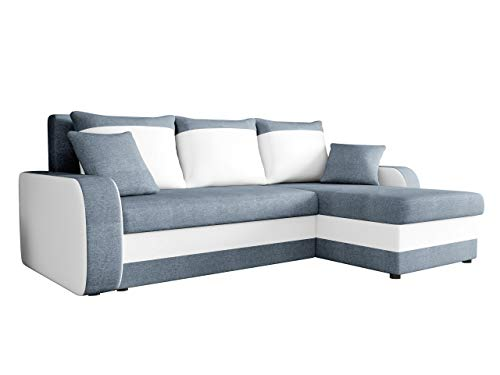 Ecksofa Kristofer Lux, Eckcouch Couch! mit Schlaffunktion, Zwei Bettkasten, Farbauswahl, Wohnlandschaft! Bettfunktion! Design L-Form Sofa! Seite Universal! (Bristol 2442 + Soft 017.)