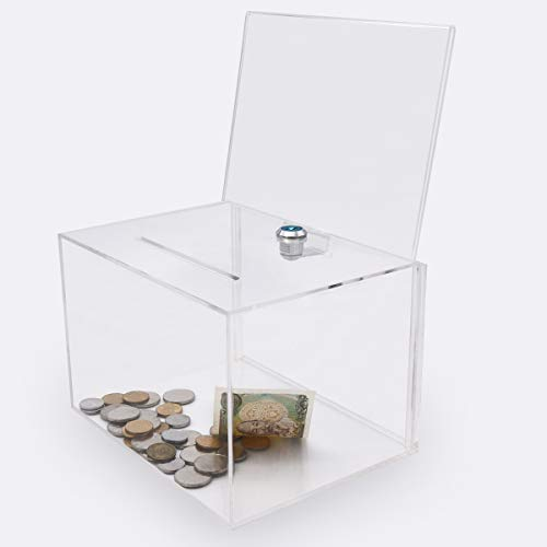 Acrylic Donation Box with Lock, Large Ballot Box with Sign Holder, Clear Suggestion Box Storage Container for Voting, Charity,Ballot