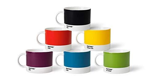 Pantone TeeSet1 Set di 6 Tazze da tè in Porcellana, 475 ml, con Manico, Lavabili in lavastoviglie, Colori Classici