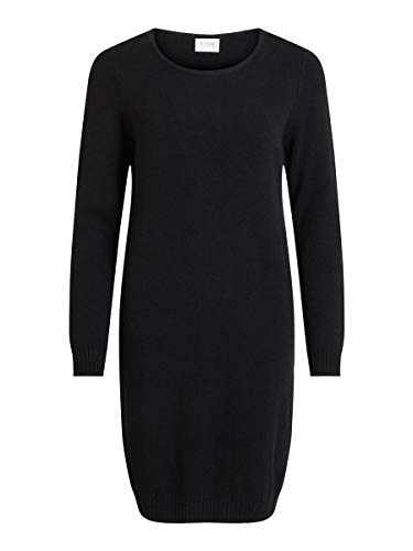 Vila Damen Viril L/S Knit Dress - Noos Kleid, Schwarz (Black), XL EU