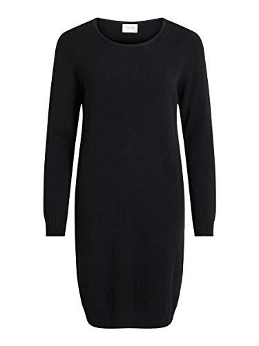 Vila Damen Viril L/S Knit Dress - Noos Kleid, Schwarz (Black), M EU