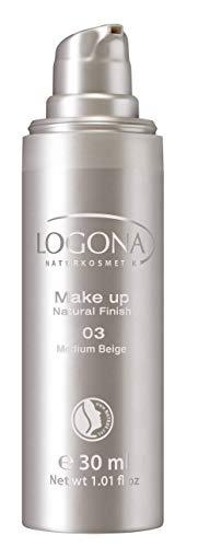 LOGONA Naturkosmetik Make-up Natural Finish No. 03 Medium Beige, Mittlerer Hautton, Foundation mit Anti-Aging-Pflege, leichte bis mittlere Deckkraft, Bio-Extrake, Vegan, 30 ml