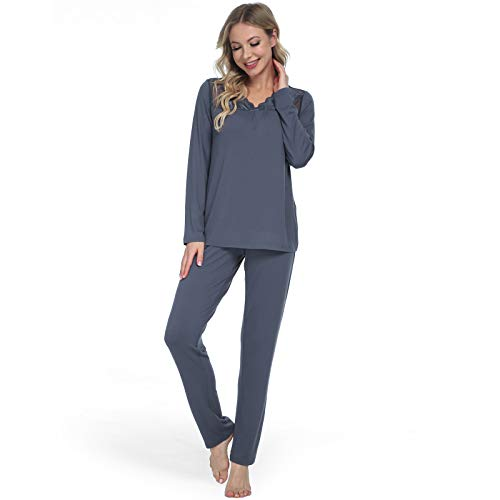 Bild Mnemo Lace Schlafanzug für Damen Sexy Frauen Pyjama Set mit Hohler Spitze 2 Stück Weichem Lang Damen Nachtwäsche mit V-Ausschnitt
