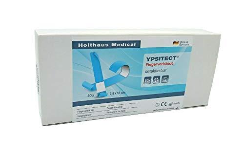50 Stück - YPSITECT Fingerverband Finger Wund Pflaster 40605 | detektierbar + elastisch | 2,5 x 18 cm | blau