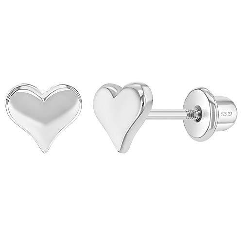 925 Sterling Silver 5mm Classic Heart Toddler Screw Back Earrings for Babies & Kids - Ideal Hypoallergenic Young Girl's Heart Earrings