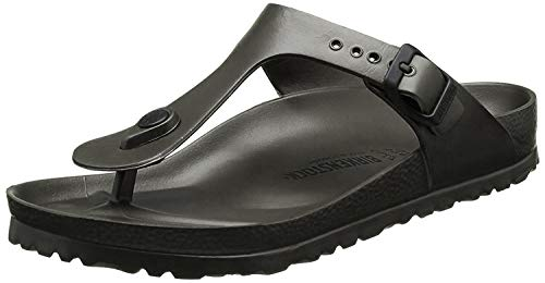 BIRKENSTOCK Unisex Gizeh Essentials EVA Sandals, Metallic Anthracite, 41 R EU