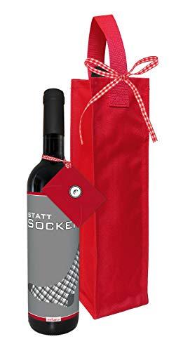 STEINBECK Wein Statt Socken Geldgeschenk Geburtstag trockener Rotwein aus Spanien 100% Tempranillo Valdepenas 2017 Flaschentasche Mitgebsel Freund Mann Arbeitskollege Liebe