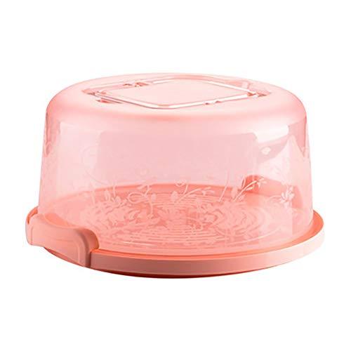 Bonito soporte de postre redondo para tartas y pasteles, con caja de almacenamiento, color rosa