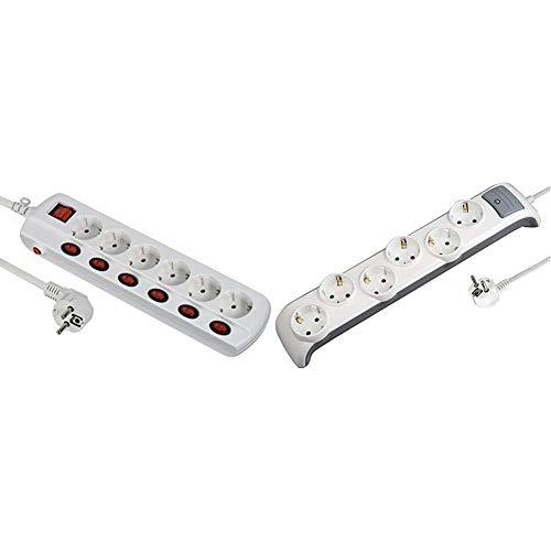 Electraline 62503 Regleta Base múltiple 6 Tomas schuko + 6 1 Interruptor General, Cable 1.5 M, Blanco + 62507 Regleta Base múltiple (3G1 mm², 2 m, 6 Tomas) Color Blanco