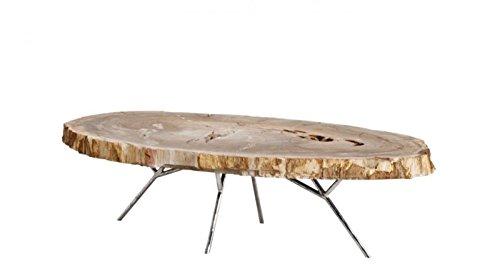 Casa Padrino Luxus Art Deco Designer Couchtisch aus versteinertem Holz - Wohnzimmer Salon Tisch - Limited Edition
