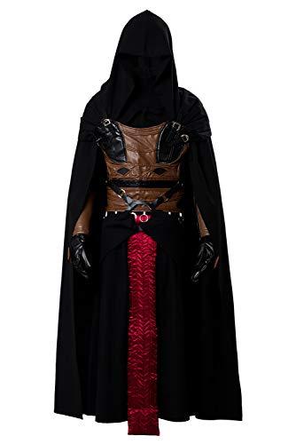 Costume da Uomo Cosplay di Halloween per Adulti Mantello con Cappuccio Medievale Nero Abito Operato in Pelle PU con Cintura E Cintura, XXL