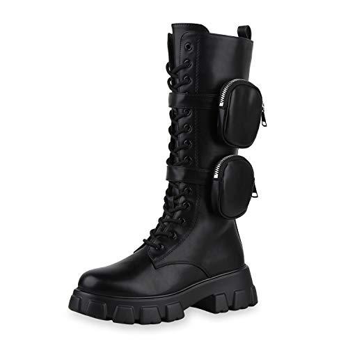 SCARPE VITA Damen Plateaustiefel Leicht Gefütterte Stiefel Profilsohle Seitliche Taschen Schuhe Lederoptik 197855 Schwarz Schwarz Taschen 38