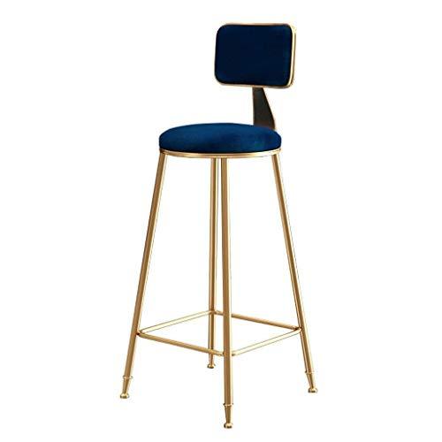 Taburetes de bar tapizados con respaldo para cocina/pub | patas de metal dorado | Taburete de bar con cojín de terciopelo azul (tamaño: 75 cm)