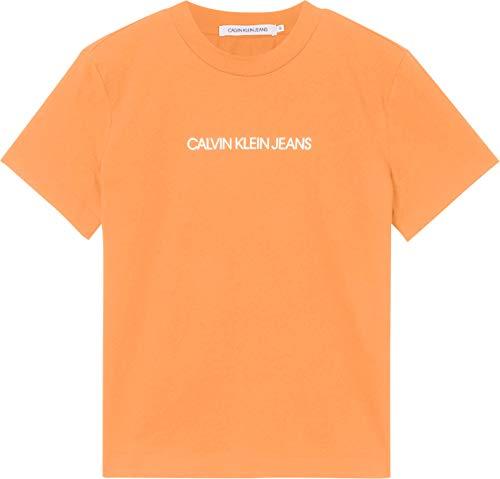 Calvin Klein Jeans Shrunken INSTITUTIONAL tee Cuello extendido, Naranja triturado, L para Mujer
