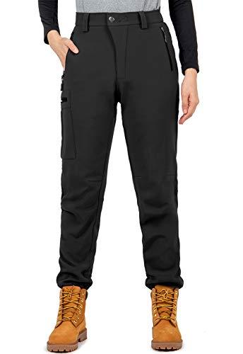 Cycorld Damen Wanderhose-Outdoorhose, Wasserdicht Skihose Winddicht Softshellhose Warm Gefüttert Trekkinghose (Schwarz, XXL)