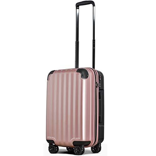 スーツケース 機内持込 300円コインロッカー 軽量 8輪 ダブルキャスター TSAロック ss s 小型 ハードキャリー ファスナータイプ キャリーバッグ キャリーケース (Sサイズ(機内持込36L〜40L), ローズゴールドS)