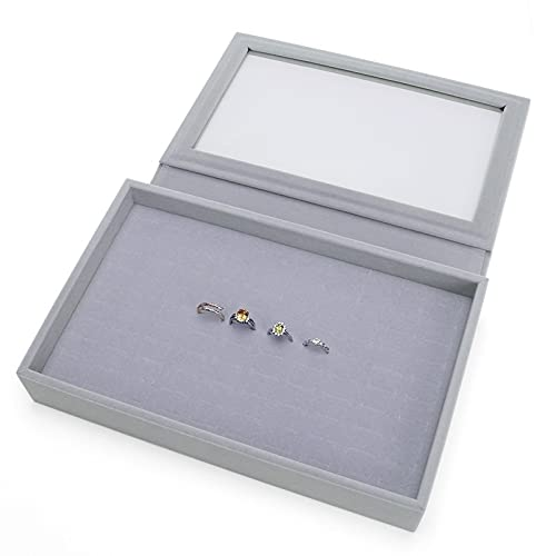 GYJYEG Joyero gris Velet Fashion portátil compatible con anillo de joyería colgante expositor caja organizador bandeja titular pendiente almacenamiento joyería caja (color: F)
