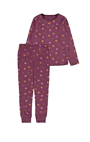 NAME IT Mädchen NKFNIGHTSET Prune Purple DOT NOOS Pyjamaset, 98-104