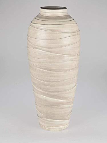 Formano Dekorative schwere Bodenvase 50cm Creme - Relief aus Keramik gefertigt