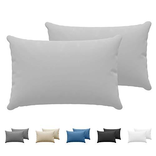 Dreamzie - Set de 2 x Taie Oreiller 50 x 70 cm - Gris - 100% Premium Coton Jersey 150gsm - Housse de Coussin Résistant et Hypoallergénique