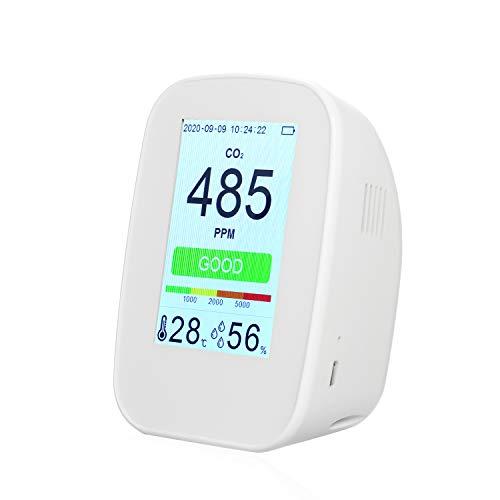 Kecheer Medidor de co2 y humedad/temperatura,Detector de dióxido de carbono,Co2 detector calidad aire recargable con pantalla digital a color