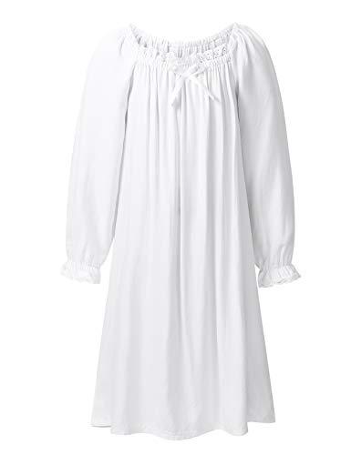 TiaoBug Mädchen Kleider Prinzessin Mittelalterlich Renaissance Nachthemd Puffärmel Kleid Baumwolle Schlafanzug Nachtwäsche gr. 98-152 Weiß 110-116