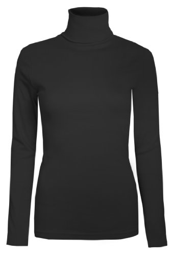 Brody & Co Damen Rollkragen-Pullover,, exklusive, Unifarben, für den Winter und Skifahren, Stretch-Qualität, Baumwoll-Jersey Gr. 38, Schwarz