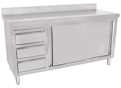 Beeketal 'BAS160-60L' Gastro Edelstahl Küchenschrank mit 3 Schubladen (links), 2 Rolltüren und 4 verstellbaren Standfüßen, Küchen Arbeitsplatte mit 10 cm Aufkantung - (L/B/H) ca. 1600 x 600 x 950 mm