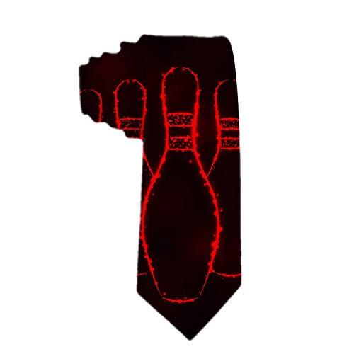 Bowling Pins Lights Schwarz Rot Classic Herren Krawatte Seidenkrawatte Jacquard Krawatten