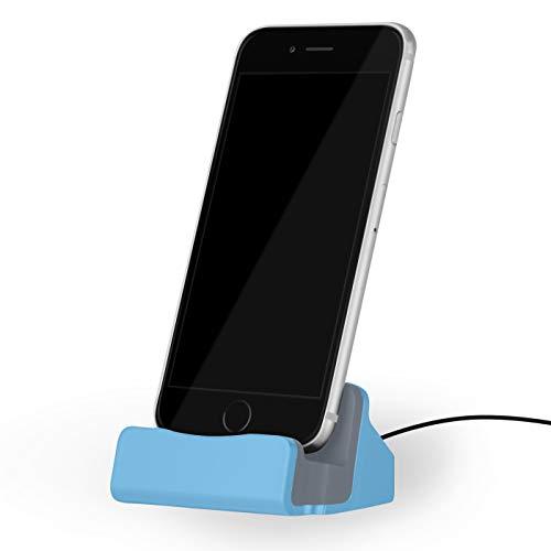 NessKa - Docking station con cavo USB da 2 metri, per Apple iPhone X XR XS Max Pro 11 10 8 7 6s 6 Plus 5s 5 SE iPod Touch   blu