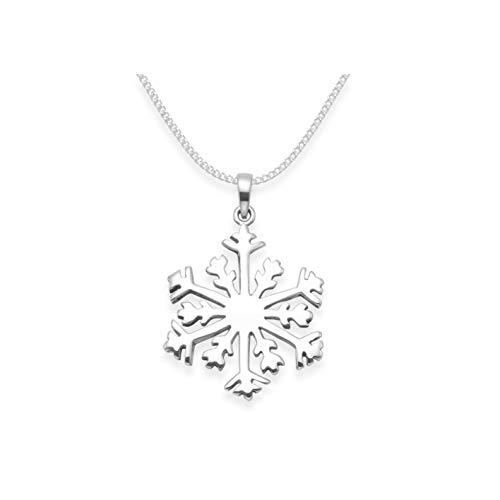 Silber Kinder-Halskette 38 cm mit Schneeflocken Anhänger Sterling-Silber 925 - Größe: KLEIN für Kinder 14 mm - siehe Fotos. Schneeflocken-Anhänger Weihnachtsgeschenk-Box 8174S/15