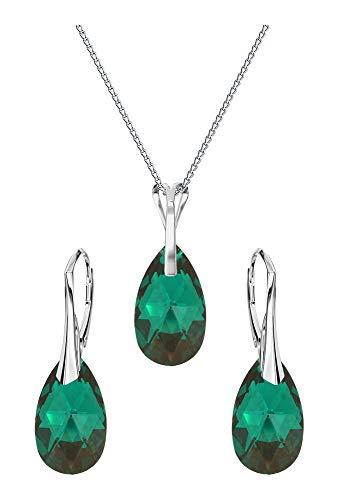 Crystals&Stones Parure di gioielli composta da orecchini e collana con cristalli Swarovski, in argento 925, con scatola regalo e argento, colore: Emerald AB, cod. 7