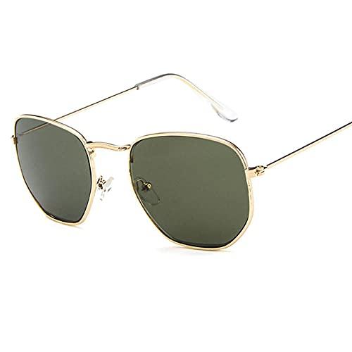 Gafas De Sol Hombre Mujeres Ciclismo Gafas De Sol Poligonales De Metal Cuadradas Retro para Mujer, Gafas De Sol Transparentes Coloridas A La Moda, Gafas De Sol para Hombre, Goggle-Golden_Dark_Gre