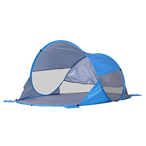Outsunny 2 Person Pop up Beach Tent Hiking UV Protection Patio Sun Shade Shelter Portable Automatic - Blue