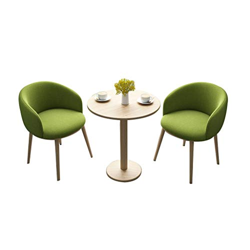 Combination chair Wooden Legs Kitchen Chair,Negotiate Sales Office Cafe Milk Tea Shop Balcony Tables and Fabric Chairs Combination 3 Piece Set (Color : Green)