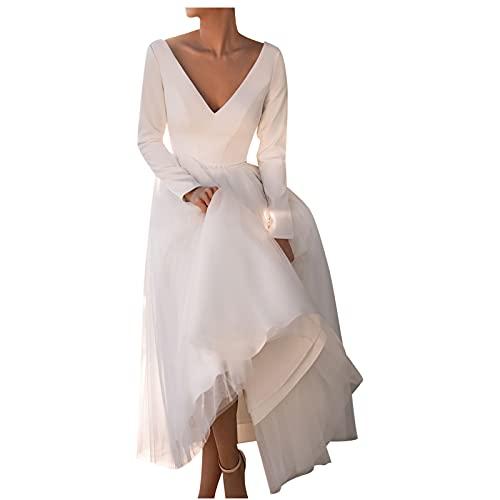 routinfly Vestido largo de la falda del color sólido del vestido de la honda elegante sexy de las mujeres de la manera