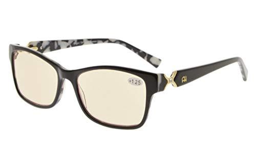 Eyekepper Amber getinte lens optische kwaliteit Computer leesbril met RX-Able Acetate Frames voor vrouwen UV & blauw licht bescherming without strength Black/White Floral