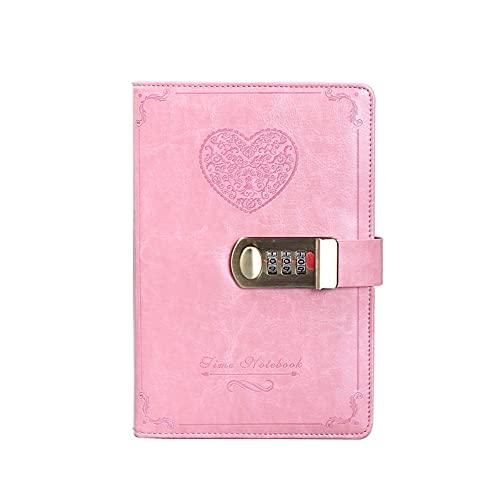 FACHAI Bloc de notas A5, planificador semanal, cuaderno de notas con diseño en forma de corazón, calendario, bloc de notas, planificador diario, cubierta de piel sintética, 20 x 13,5 cm, color rosa