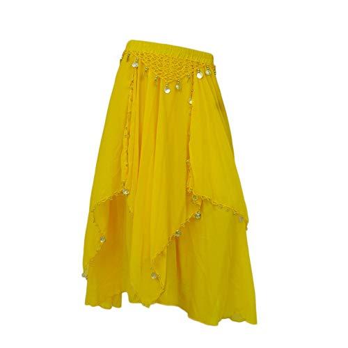 Falda De Danza del Vientre Gasa Largo Swing Entrenamiento De Práctica De Baile Ropa De Rendimiento para Mujer Amarillo Un tamaño