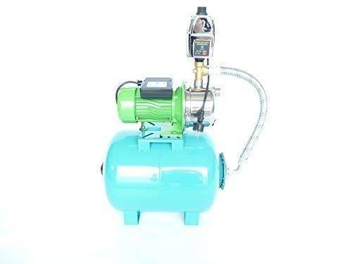 JY1000 Inox Tuinpomp, 80 liter, stevige, roestvrijstalen as en roestvrijstalen schepwielen, vermogen 1100 watt, spanning 230 V/50 Hz, capaciteit 3600 l/h, opvoerhoogte 45 m, geïntegreerde thermische motorbeschermingsschakelaar + pompbesturing EPC-4 met droogloopbeveiliging.