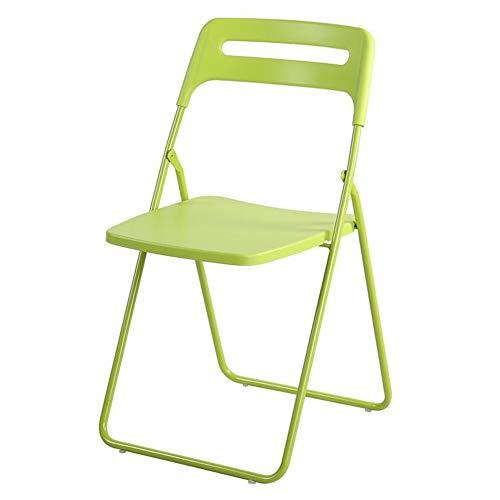 QIDI Chaise Pliante Tabouret Pliant Métal Plastique Simplicité Moderne Facile à Transporter Économisez de l'espace Bureau des ménages Pliable (Couleur : Vert)