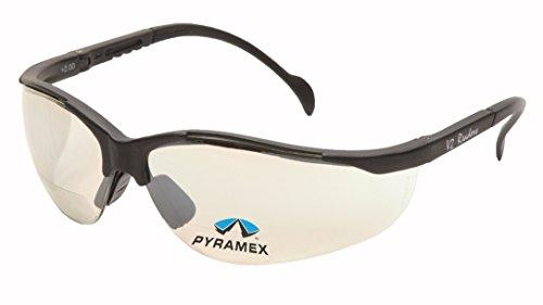 Pyramex Safety Venture II Lettori, Unisex, SB1880R25, Black Frame/Indoor/Outdoor Mirror Lens, Clear +2.0 Lens