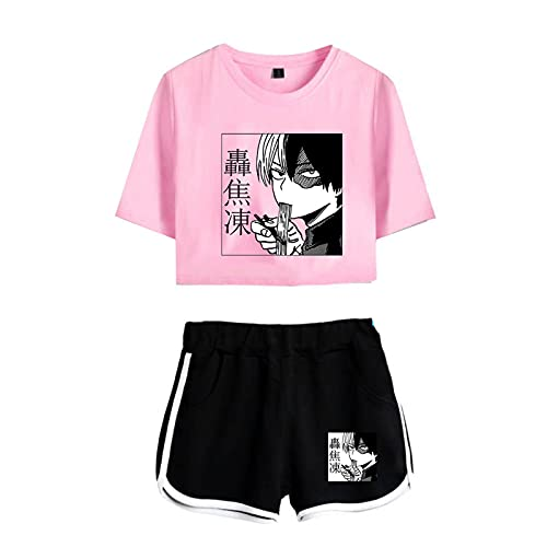 Kewing Boku No Hero Academia Todoroki Shoto Crop Top Camiseta Pantalones Cortos Traje Anime My Hero Academia Conjuntos de Ropa Deportiva para Mujeres niñas