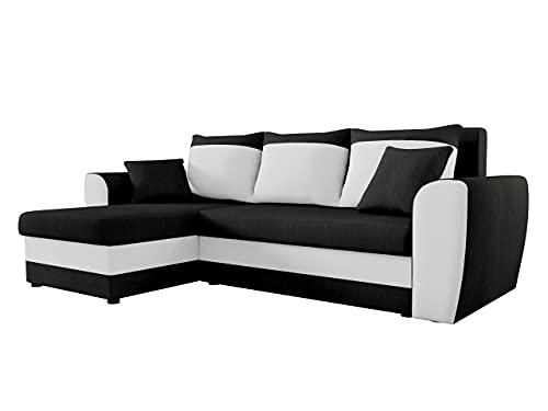 Mirjan24 Ecksofa Domo, Eckcouch Couch mit Schlaffunktion, Bettkasten, L-Form Sofa! Farbauswahl, Bettfunktion! Wohnlandschaft! Seite Universal! (Alova 04 + Soft 017)