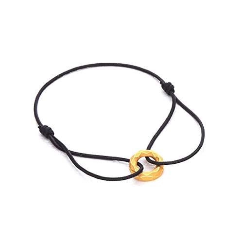 PRIMAGOLD(プリマゴールド) 純金 メンズ サークル型 ダイヤカット Blackコード ブレスレット K24 24金ジュエリー