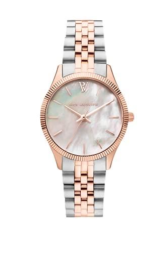 Paul Valentine Iconia Rose Gold Silver Damenuhr 28mm - Armbanduhr mit Metallic-Ziffernblatt, kratzfestes Glas, Edelstahl-Armband, Uhr für Damen