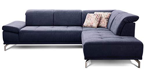 Cavadore Ecksofa Carly mit Federkern, L-Form Sofa mit Kopfteilfunktion und Sitztiefenfunktion im Design, 273 x 81 x 234, Webstoff blau